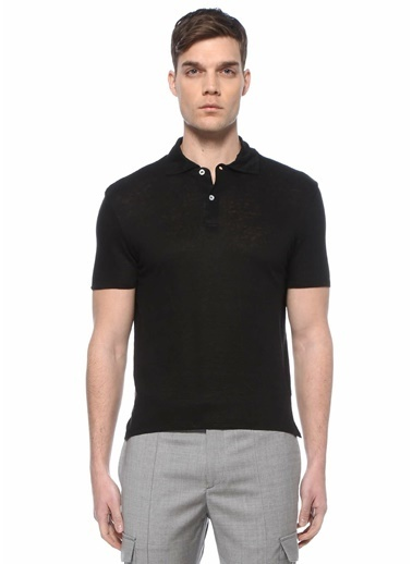 Sandro Sandro  Polo Yaka Keten T-shirt 101632898 Siyah